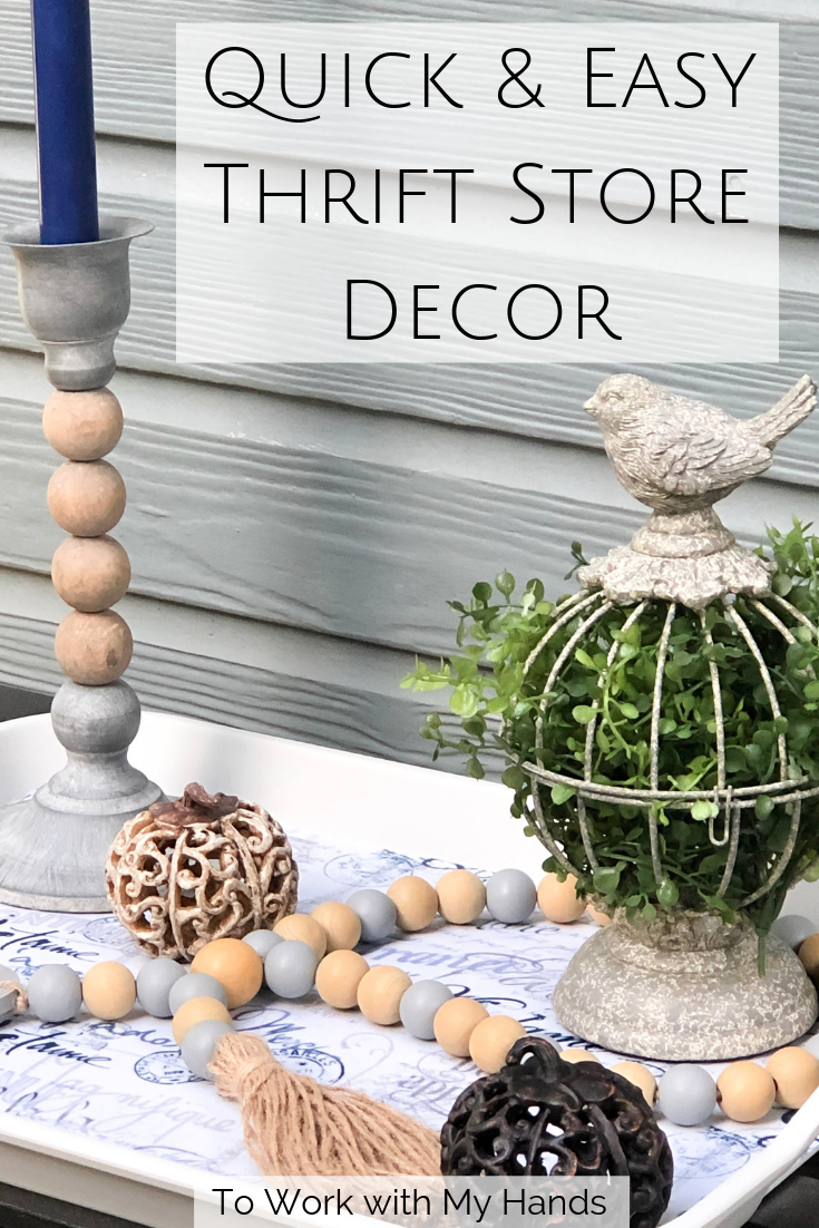 Quick & Easy Thrift Store Decor #thriftstoreupcycledecor With a little imagination and creativity, thrift stores can be a treasure trove of frugal decor possibilities - like this outdated tray that got a fresh new look! #servingtraydecor #servingtraydecorideas #decorativetrays #thriftstoreupcycle Quick & Easy Thrift Store Decor #thriftstoreupcycledecor With a little imagination and creativity, thrift stores can be a treasure trove of frugal decor possibilities - like this outdated tray that got #thriftstorefinds