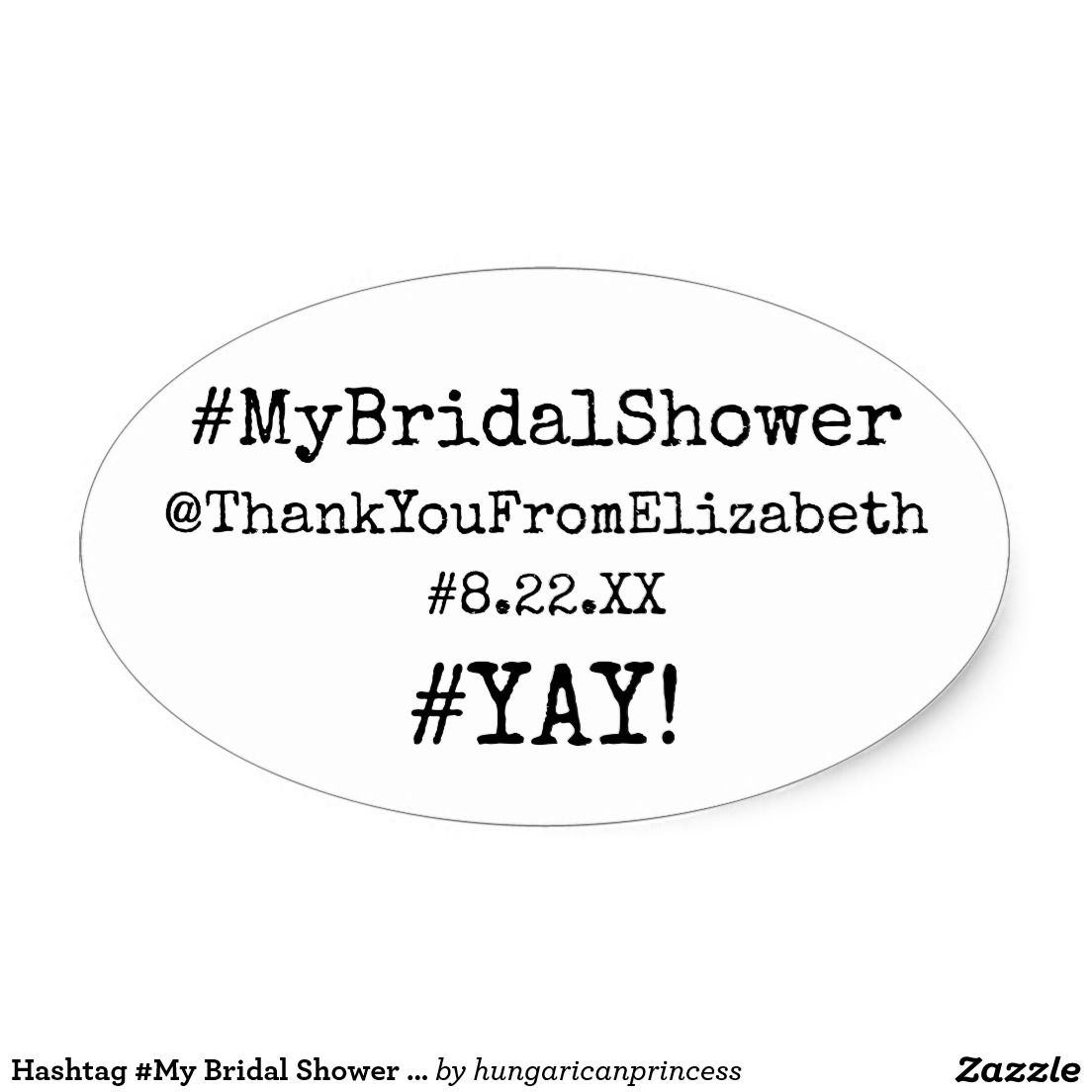 hashtag my bridal shower thank you guest favor