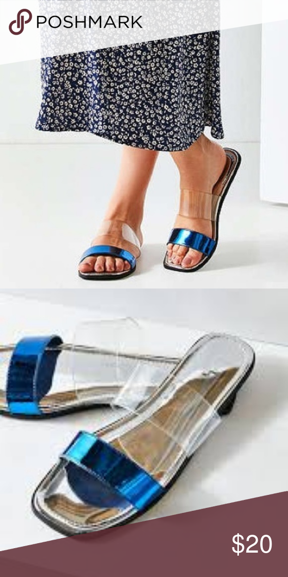 f59fd1df12eb NWT Urban Outfitters Multi Strap Slides Blue Clear Sunny days get a sleek  upgrade with this banded strap slide sandal! Flat sandal with contrasting  faux ...