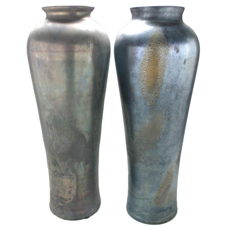Pair Of Very Large Black Cenedese Italian Glass Vases Douglas