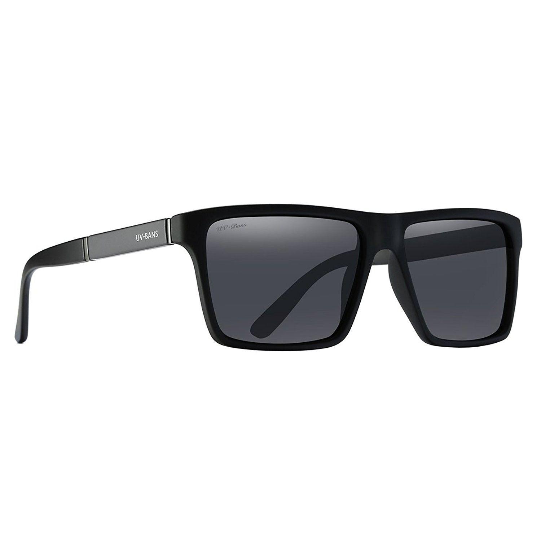 626476e1be6 UV BANS Polarized Sunglasses Designer Glasses - Grey + Black Frame -  C01833SSD0S - Men s Sunglasses