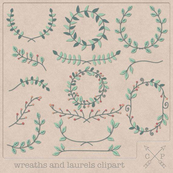 Hand drawn frames garland laurels wreaths digital Clipart (set of 14) red orange green mint pink Color clipart scrapbooking wedding invites
