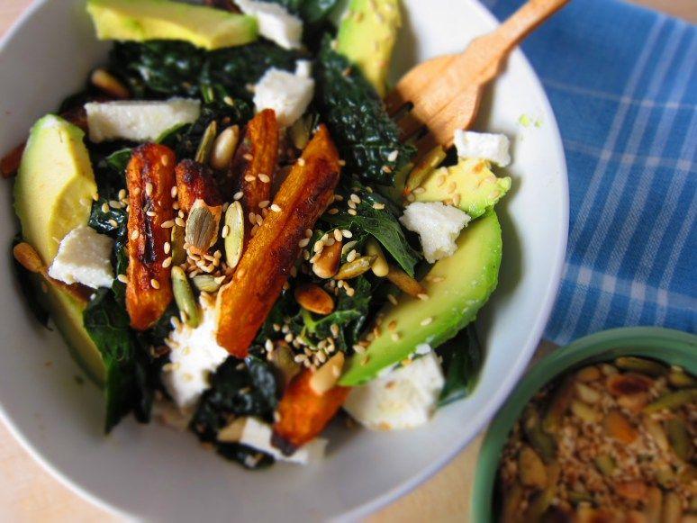 Roasted carrots, avocado + kale