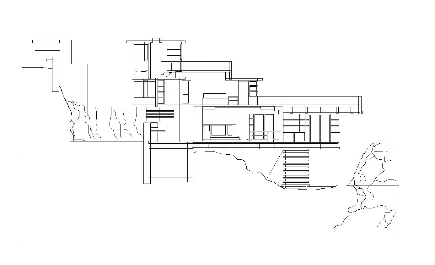 Falling water frank lloyd wright the dwg files are compatible back to autocad 2000
