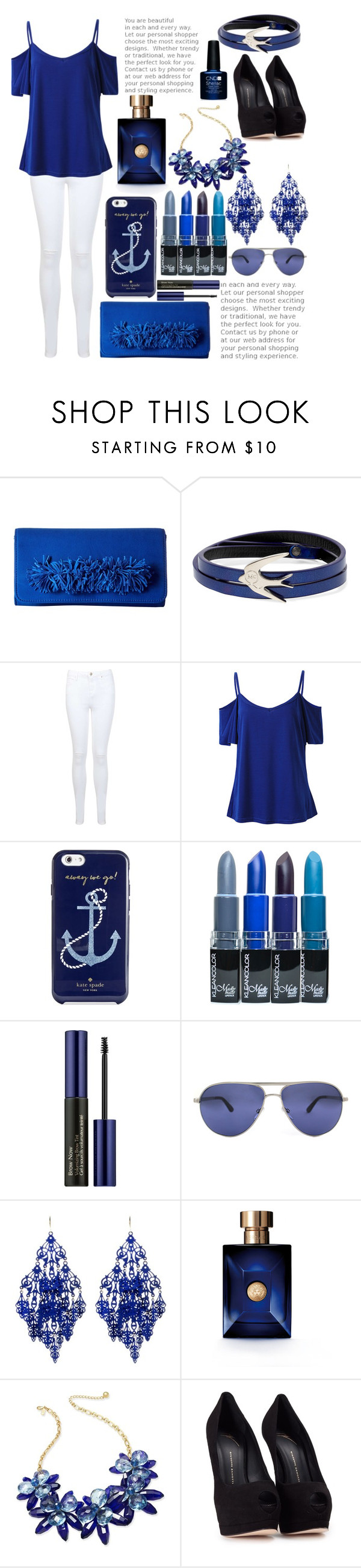 """""""Berry Blue ♥"""" by mpeeps60 ❤ liked on Polyvore featuring Steve Madden, McQ by Alexander McQueen, Miss Selfridge, Kate Spade, Estée Lauder, Persol, Amrita Singh, Versace and Giuseppe Zanotti"""