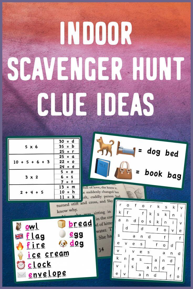 Indoor scavenger hunt clue ideas for kids! in 2020