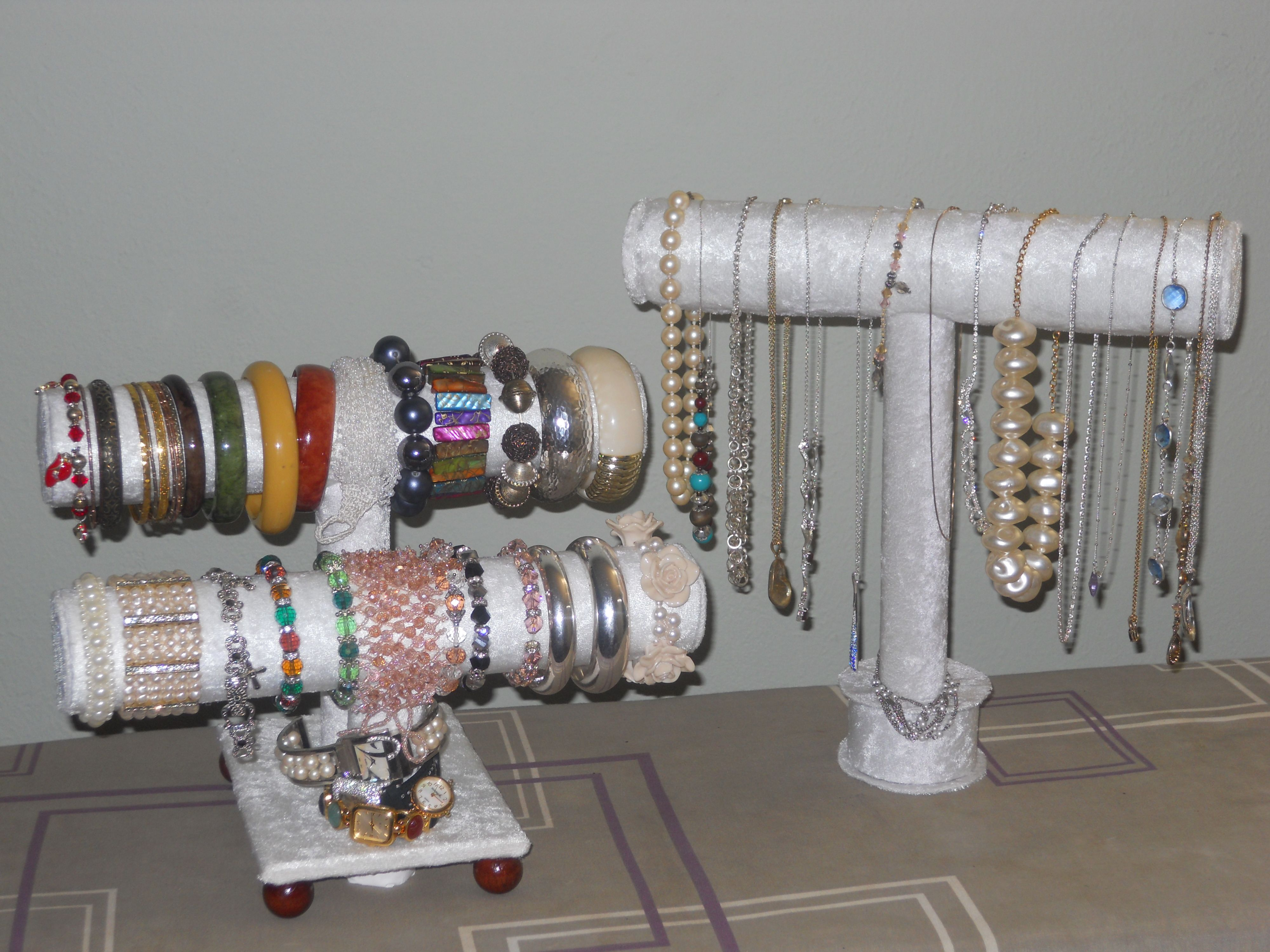 DIY jewelry holders made from paper towel and toilet paper rolls
