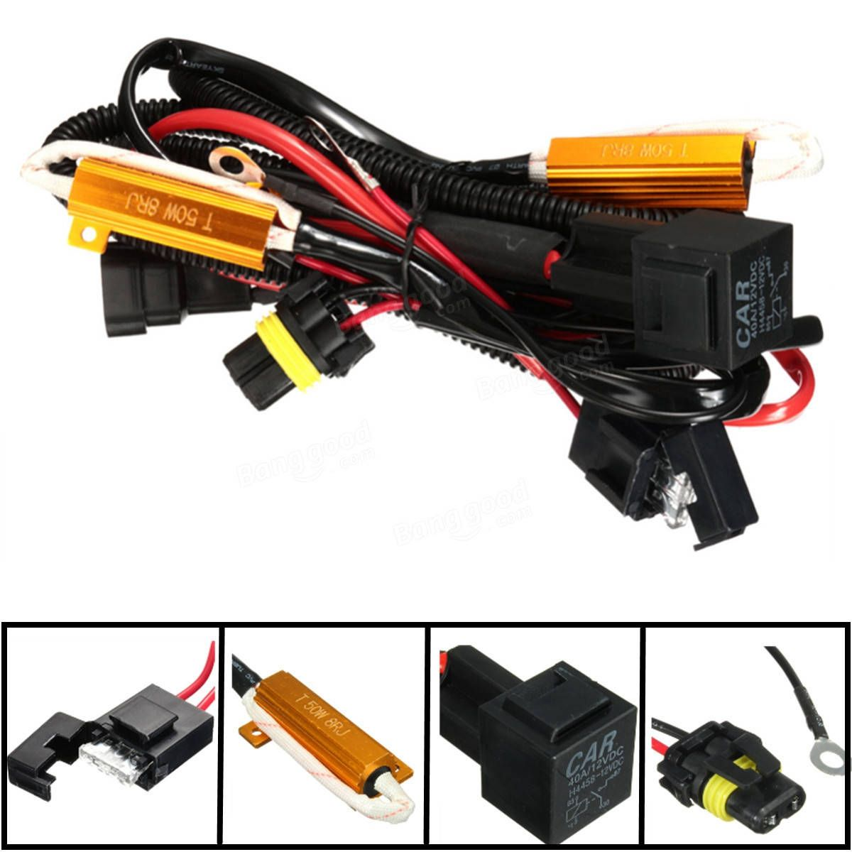 US$9.99] 40A Relay Wiring Harness 50W Load Resistor H1 H7 ... on transistor wiring, headlight connector wiring, fog light wiring, ignition coil wiring, distributor wiring, phone line wiring, 12v dc wiring, tail light wiring, headlight wiring diagram, headlight wiring harness, combination switch wiring, headlight bulb wiring, trailer brake wiring, dimmer switch wiring, high low headlight wiring, motor control wiring, diode wiring, electric motor wiring, 3 wire headlight wiring, ignition switch wiring,