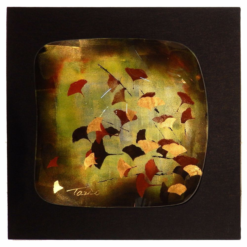 Murano Art Glass Platter Wall Art Gold Leaf Leaves Signed Vintage ...