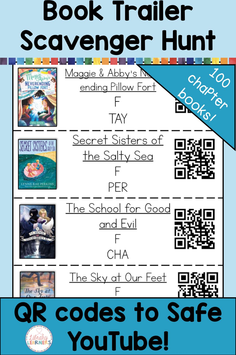 Chapter Book Trailer Library Scavenger Hunt With Qr Codes Library Lessons Elementary School Library Activities Library Lessons