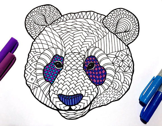 Panda Face PDF Zentangle Coloring Page in 2019