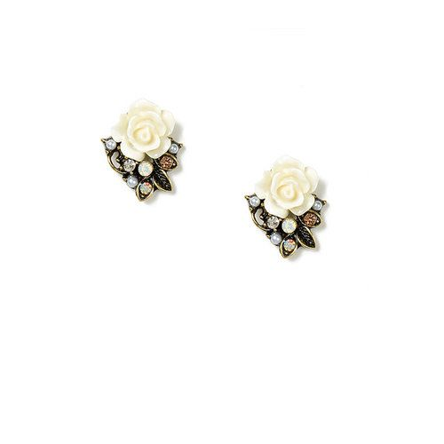 Carved Rose and Rhinestone Stud Earrings | Claire's