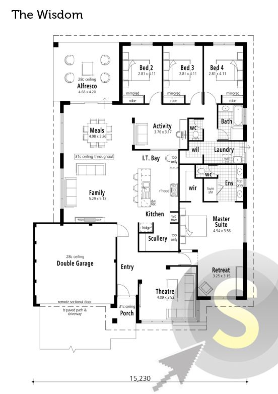 39 The Wisdom 39 Floorplan 17m Frontage 4x2 Alfresco Activity Room It Bay Near Kitchen