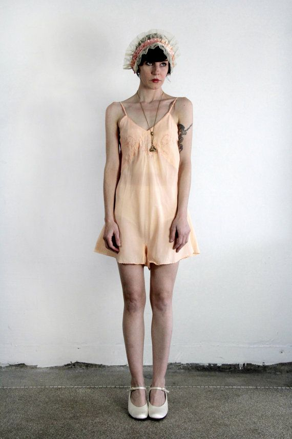 690b1243481 ON SALE 1920s Lingerie BOUDOIR 1pc Peach Camiknickers by VeraVague of Etsy.