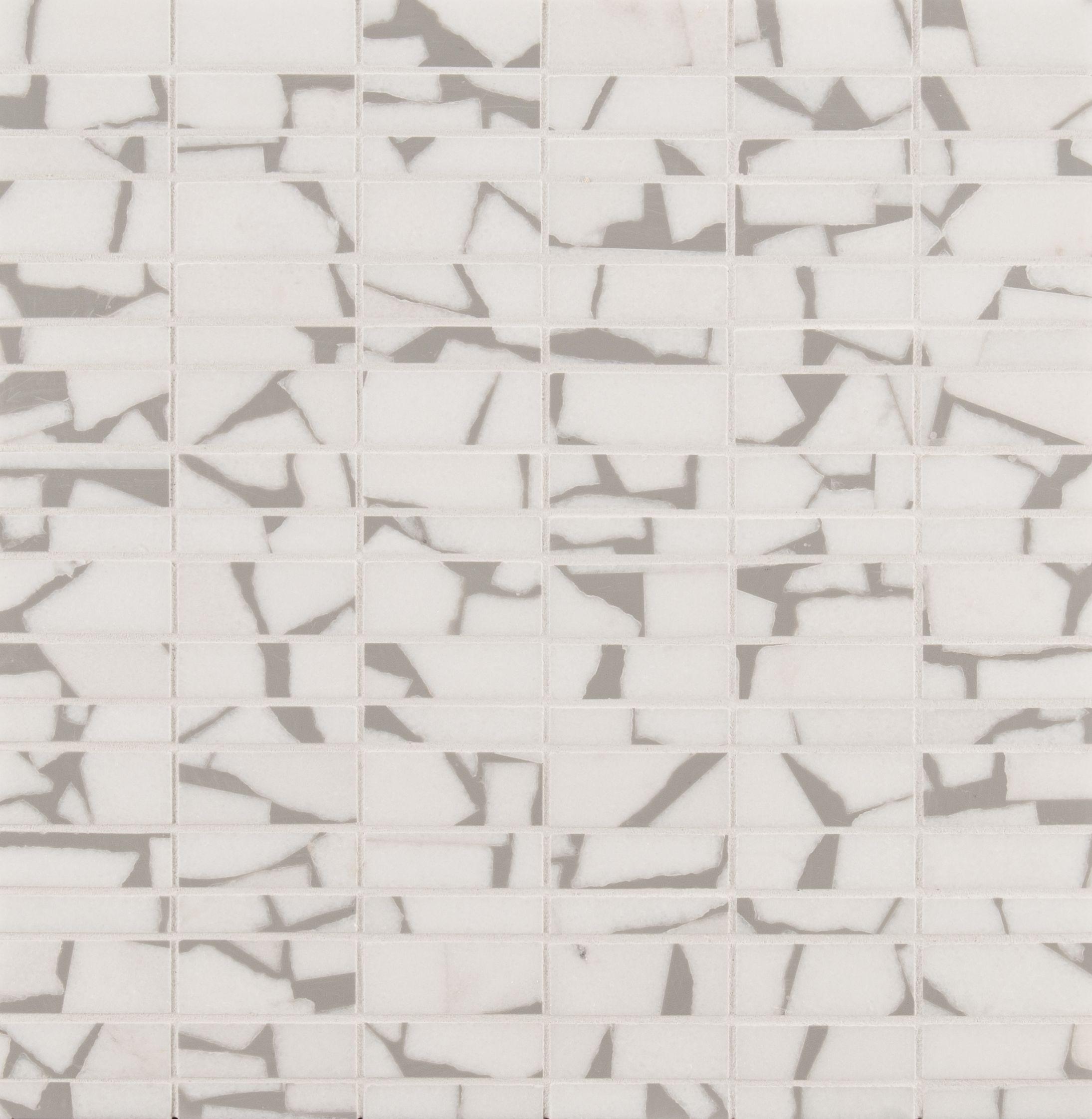 Ann Sacks Selvaggio Thassos Marble Mosaic In Dusty Grey