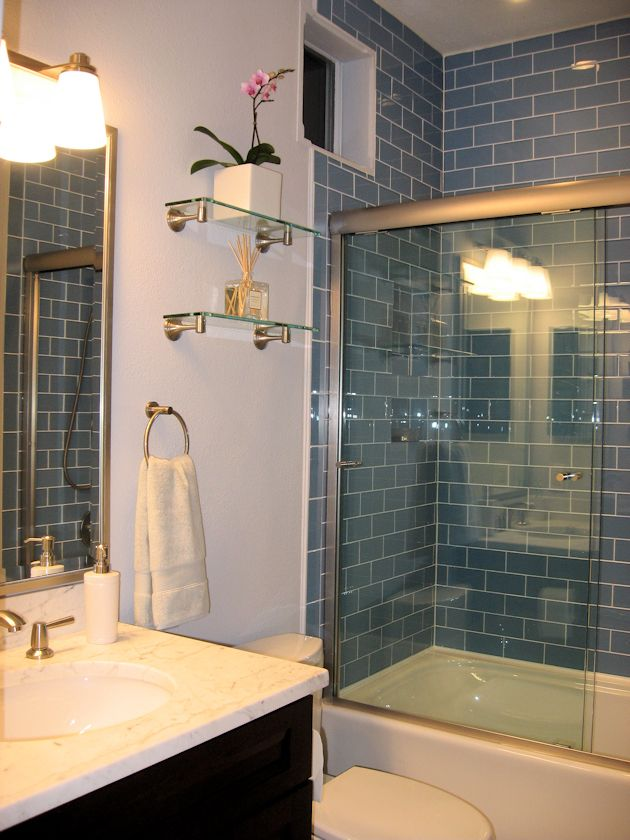 sky blue glass subway tile shower - love how high the tile goes