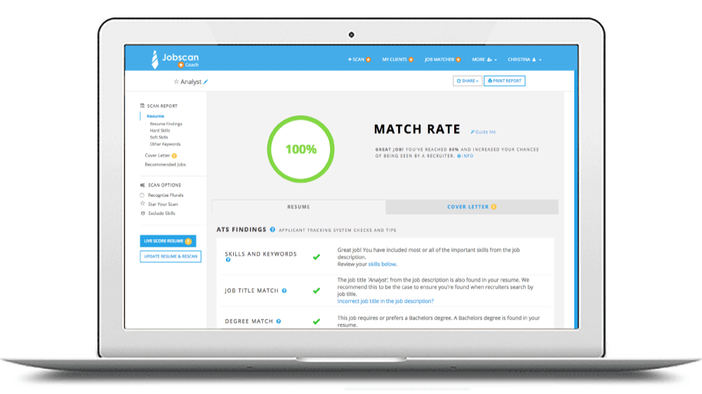 Jobscan the resume and LinkedIn analysis tool Linkedin
