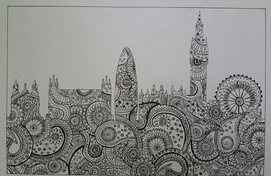 Zentangle Art Student Work Skyline City Urban Texture