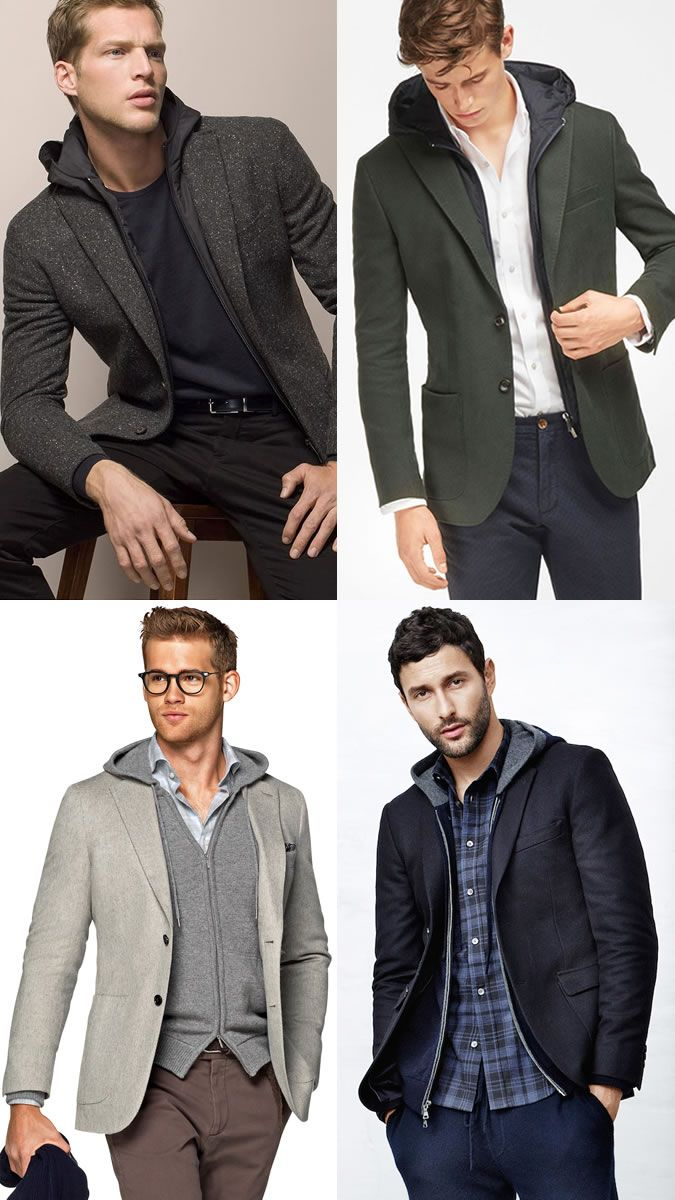 b2035be6b911 Men s Ways To Layer Between Summer   Autumn  Hoodie + Blazer Layering  Combination Outfit Inspiration Lookbook