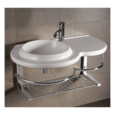 Whitehaus Collection Isabella Large Round Bowl Bathroom Sink With Chrome Shelf And Towel Bar
