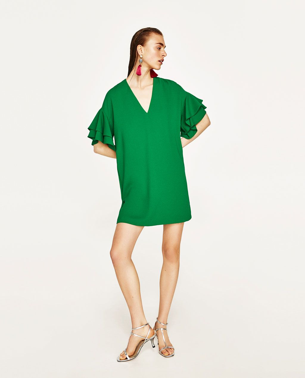 FRILLED-SLEEVE DRESS-View All-DRESSES-WOMAN   ZARA United States ... 4e32ed54ba4