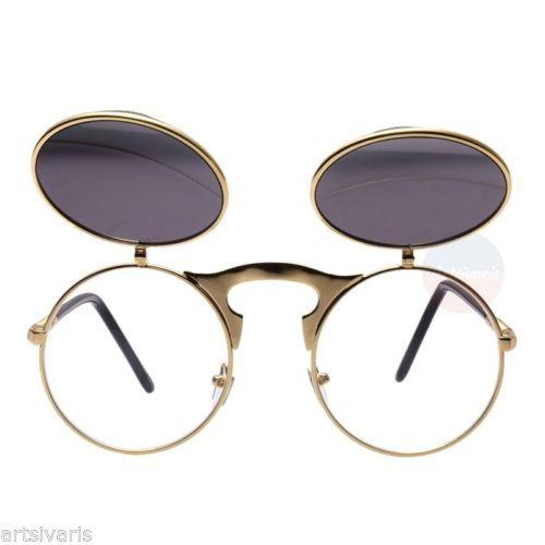 Men-Women-VINTAGE-RETRO-60s-STEAMPUNK-Round-Blinder-SUN-GLASSES-Goggles-Flip-Up