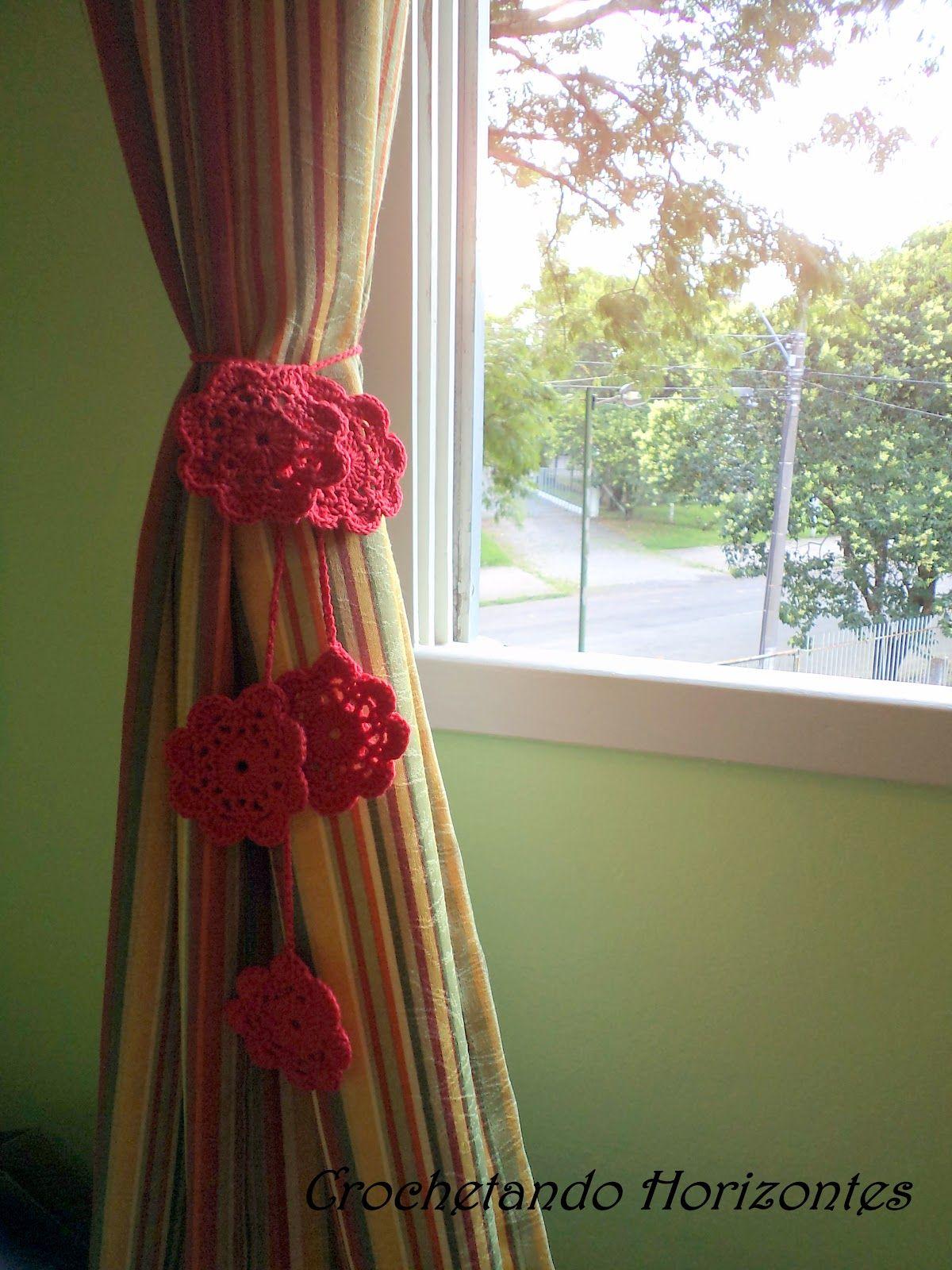 Crochetando Horizontes: Prendedor de cortina de crochê | Crochet ...