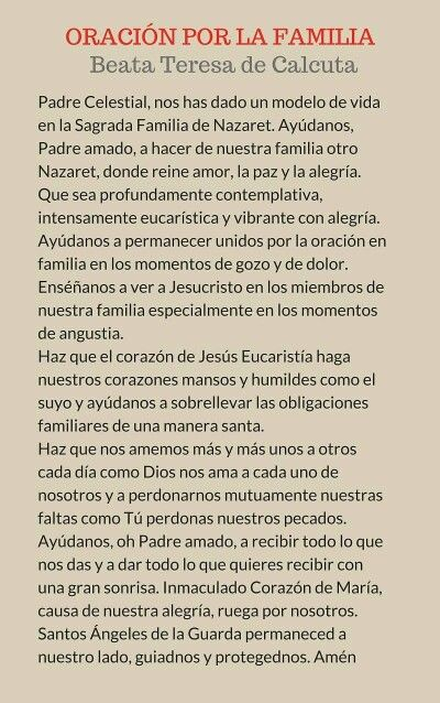 Oración De La Familia Prayer For Family God Prayer Holy Spirit Prayer