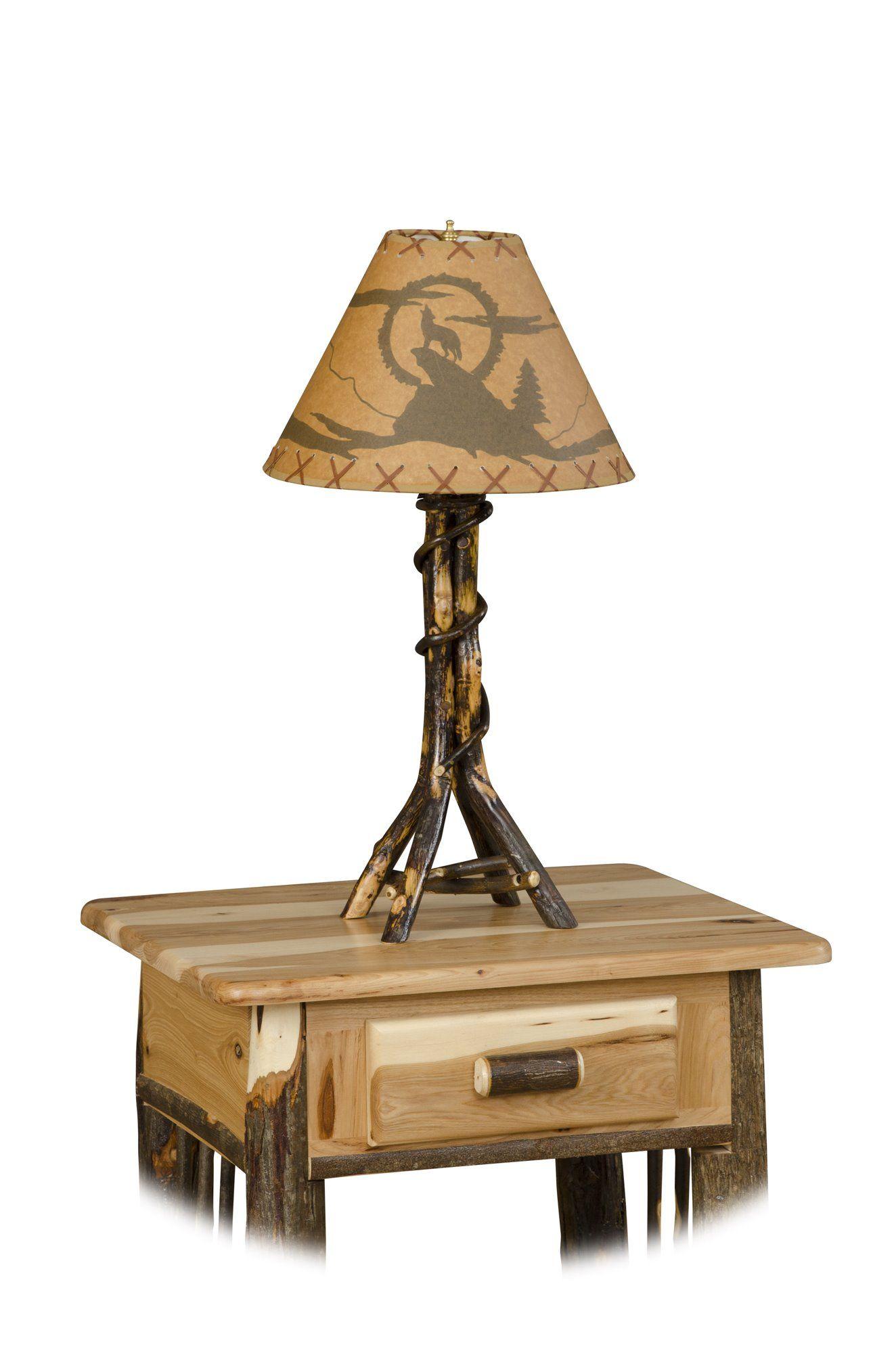 Rustic Hickory Twisted Log Table Lamp Log Furniture Amish Furniture Log Table