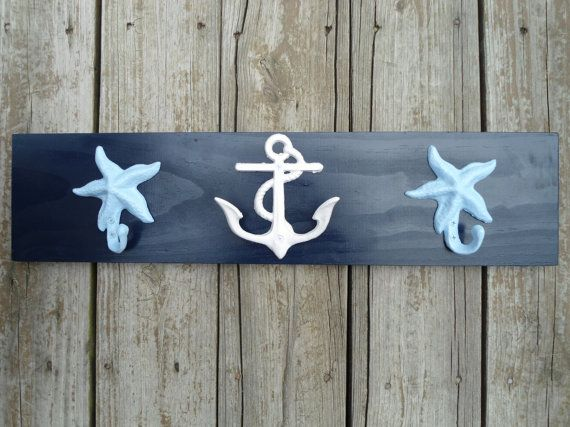 Photo of Items similar to anchor, starfish, towel hooks, nautical decor, beach house, pool or nursery on Etsy