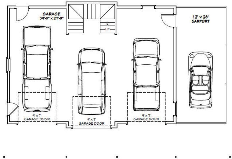 40x30 3 Car Garage 2 065 sq ft PDF Floor Plan Instant Download Model 9A
