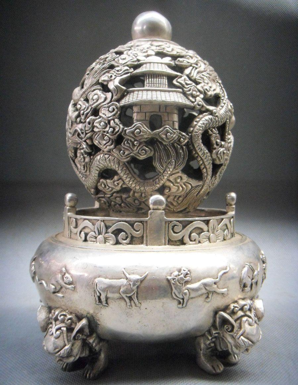 "Here is an 10"" Tibet Silver Ball Incense Burner Censer"