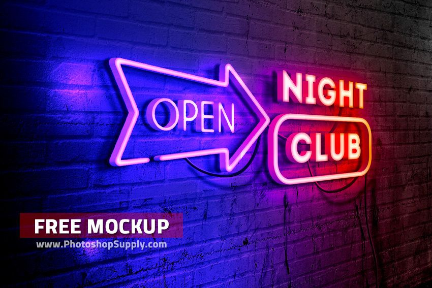 Download Free Neon Sign Mockup Photoshop Supply Free Logo Mockup Sign Mockup Free Photoshop Mockups