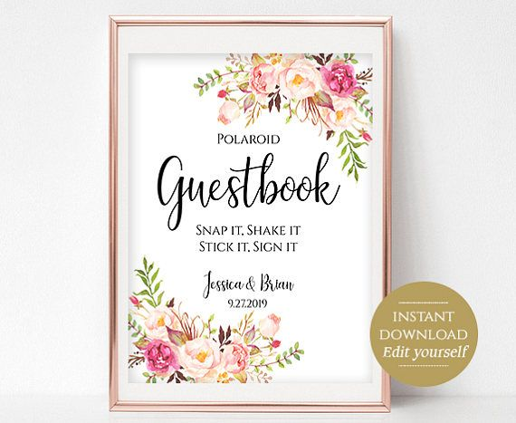 Polaroid Guestbook Sign Template Printable Guest Book Wedding ...