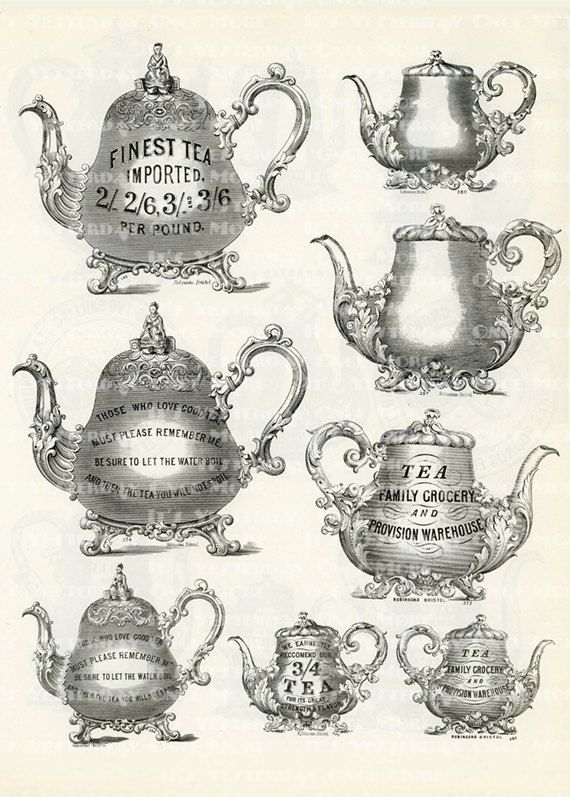 Tea and Coffee Pots Collection  for Collage or Prints.
