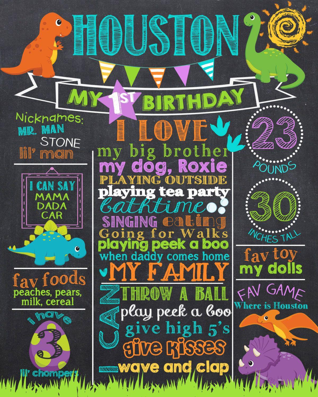 Dinosaur First Birthday Chalkboard Poster