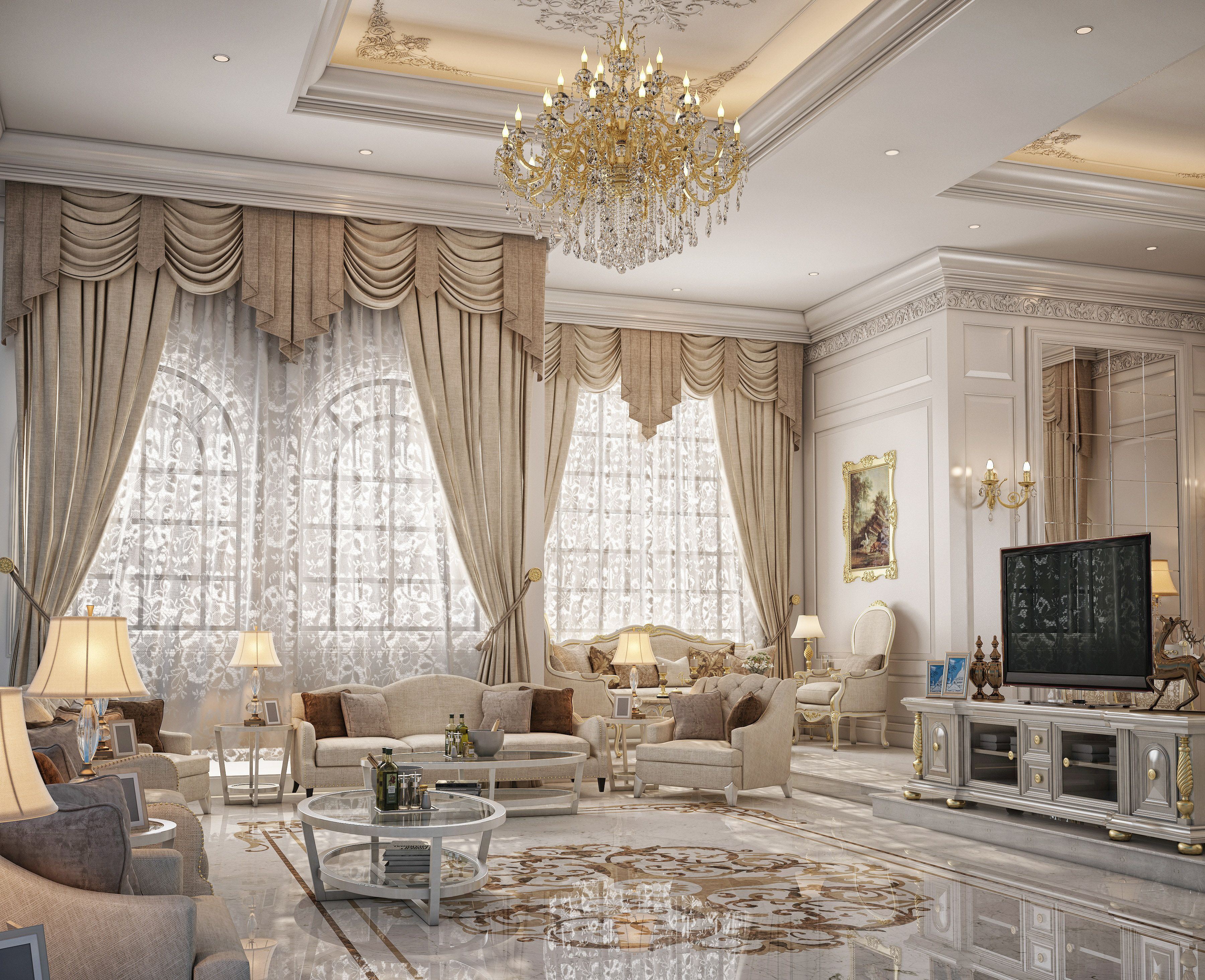 Dining U0026 Living Room Design For A Private Palace At Doha, Qatar
