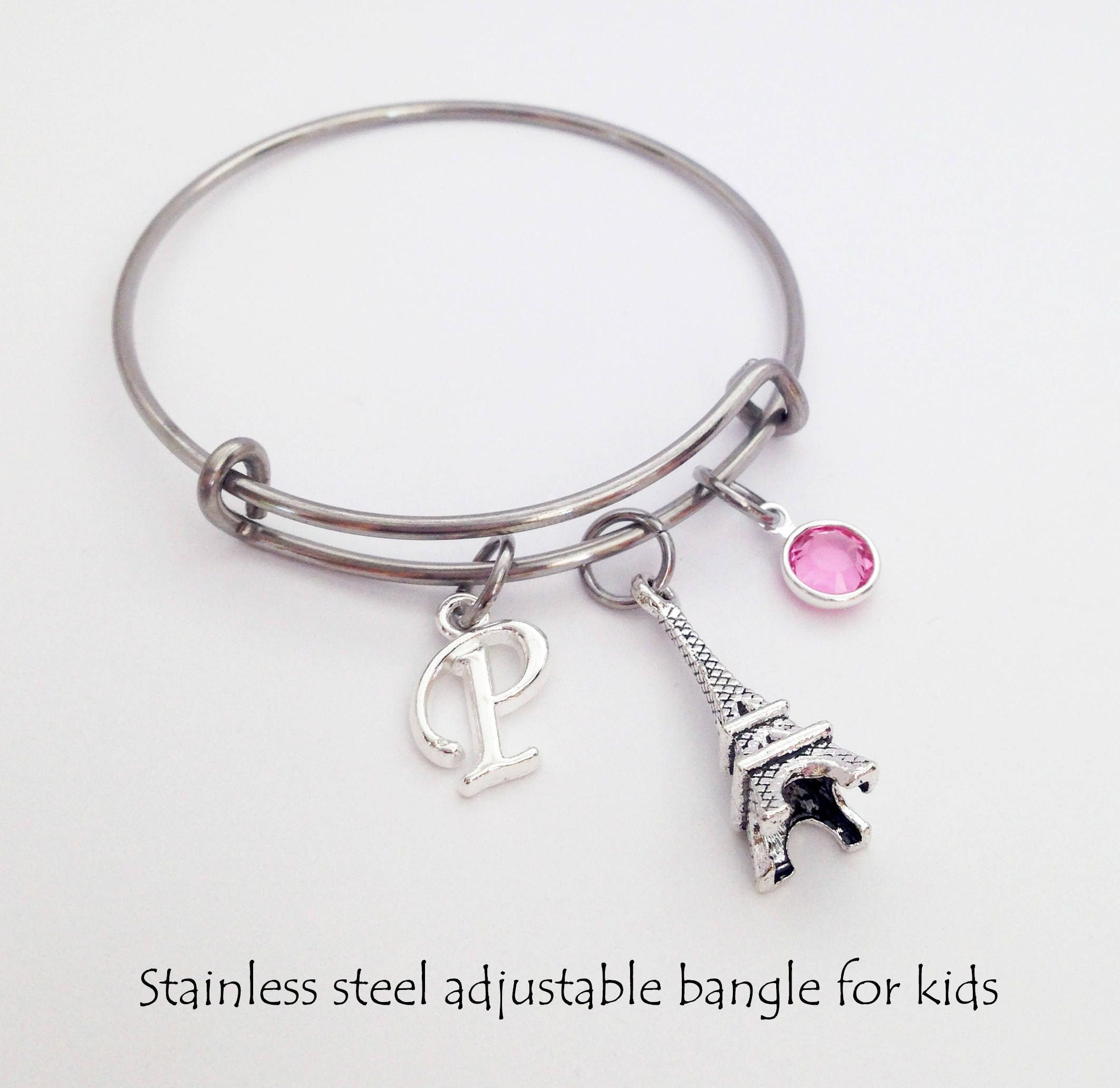 sister pin bangle initial adjustable big bracelet girls child bangles personalized