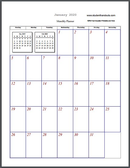 Free Printable Blank Monthly Calendar Sheets  Select And Print