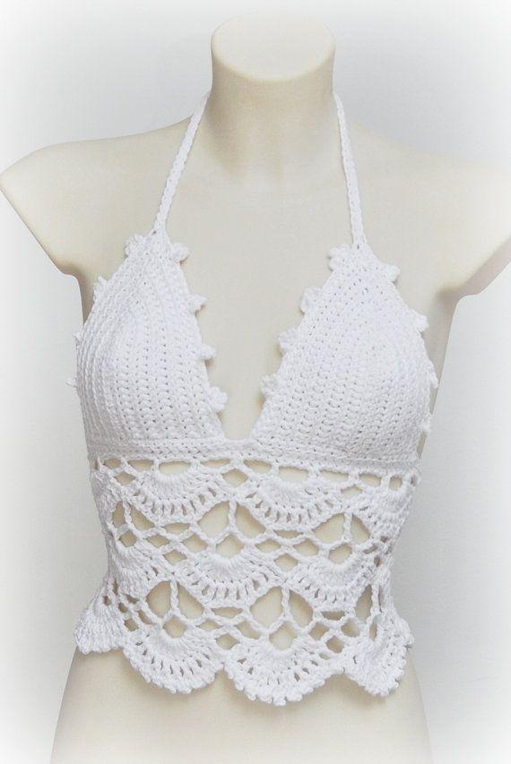 Ibiza style top. Boho crochet top. White by SexyCrochetByOlga ...