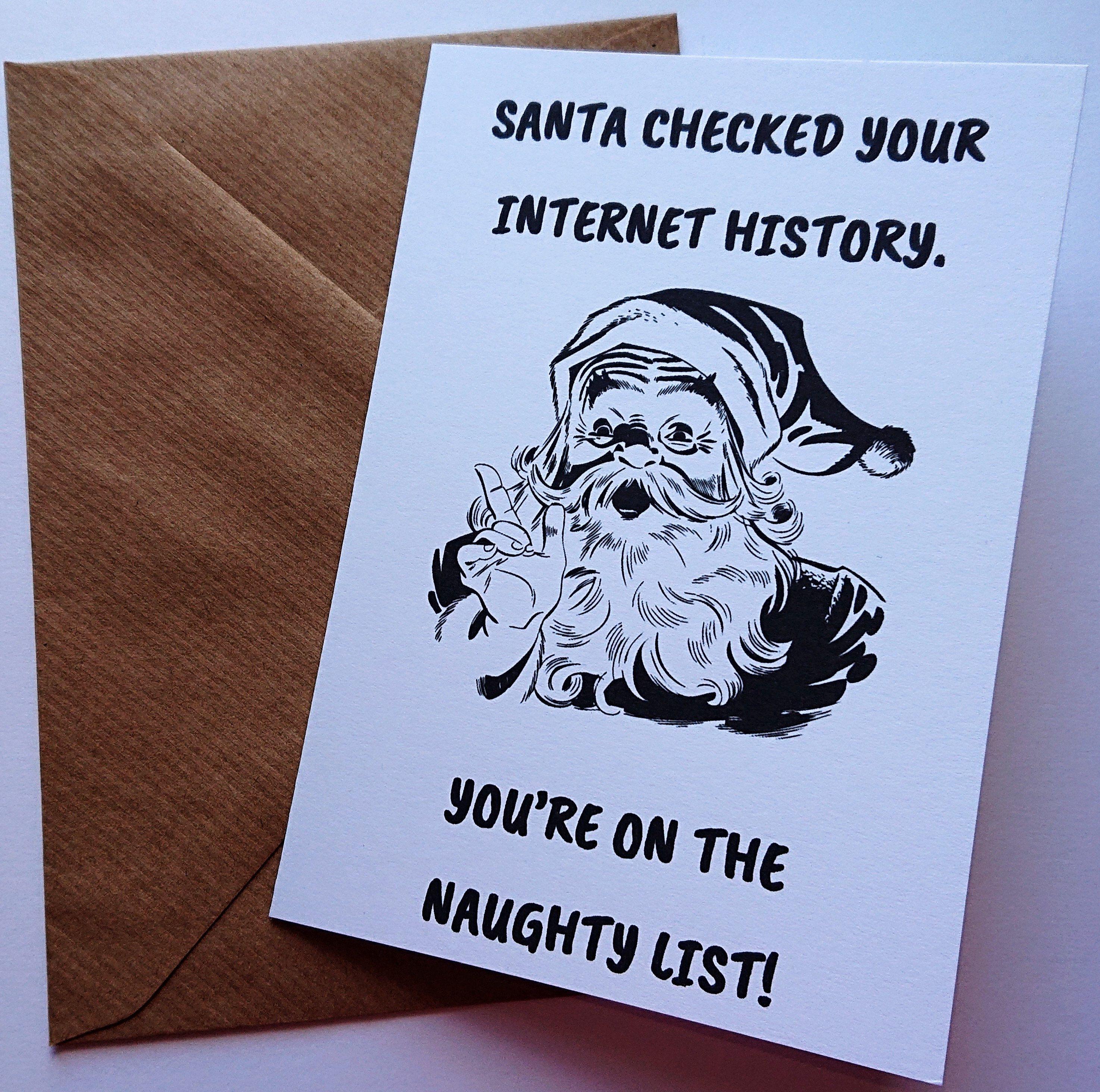 Funny Christmas Card Adult Christmas Card Naughty