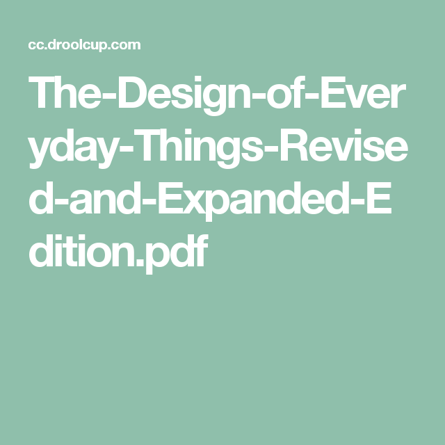 Design Of Everyday Things Pdf