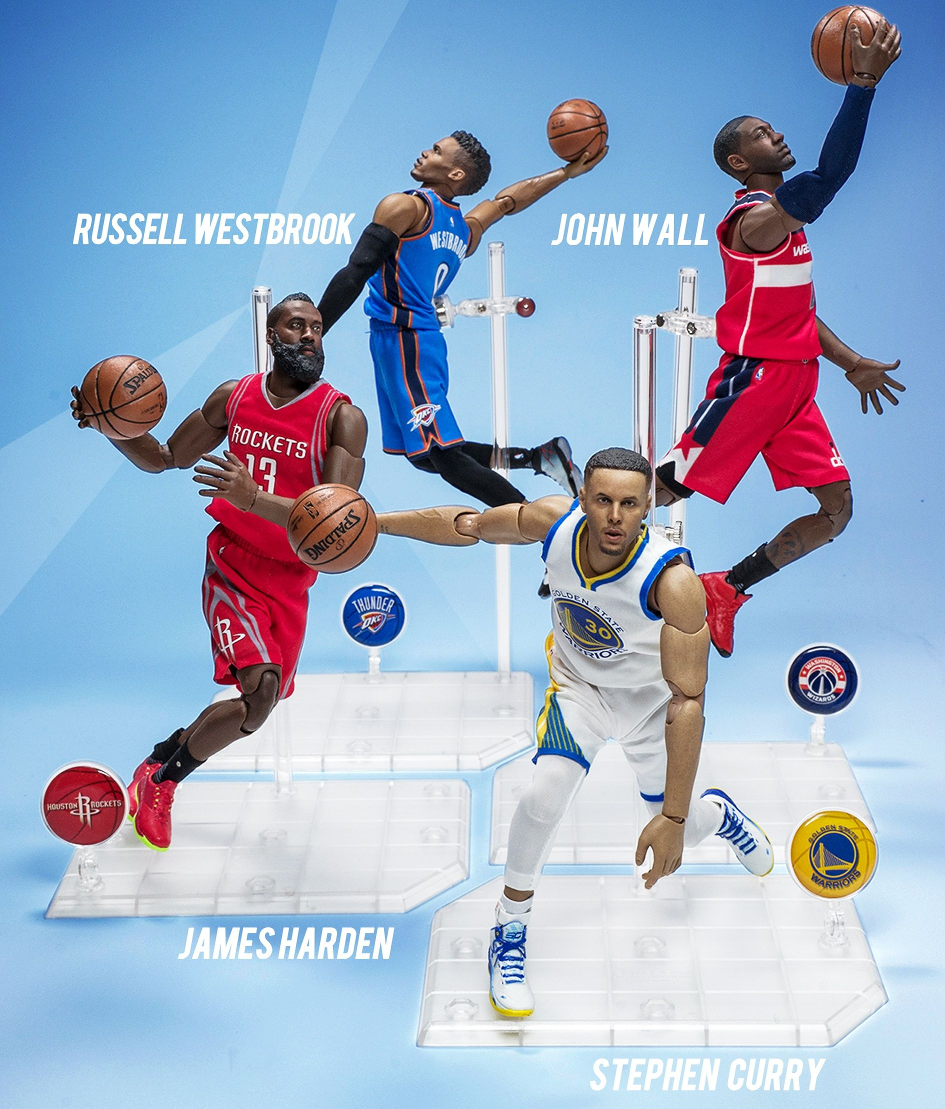 NBA Stars Jordan//Curry//Kobe//James//John Wall 1//9th Scale Motion Action Figure Toy