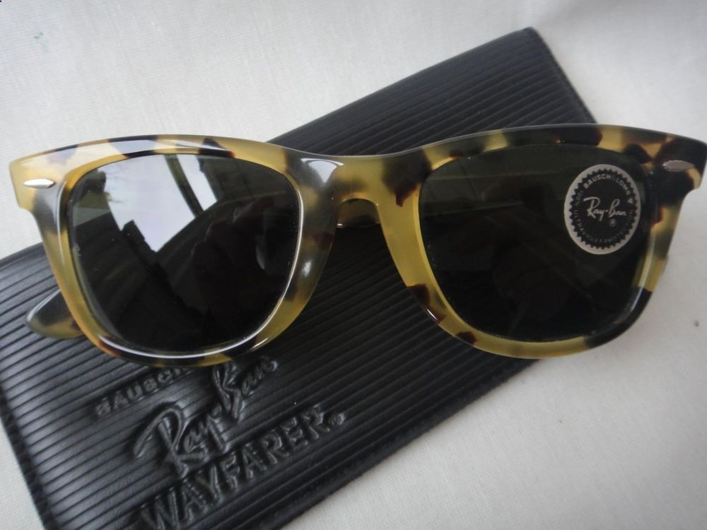 3018d2a8b4f ... closeout vintage ray ban wayfarer light blonde tortoise 5022 g15 grey  us bl sunglasses rayban a6f6b