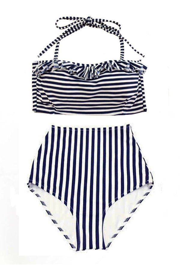 b766a735c6476 White/Navy Blue Stripe Striped Stripes Tie back Top and High Waist Waisted  Bottom Swimsuit Bikini set sets Swimwear Swim Bathing suit S M L by  venderstore ...