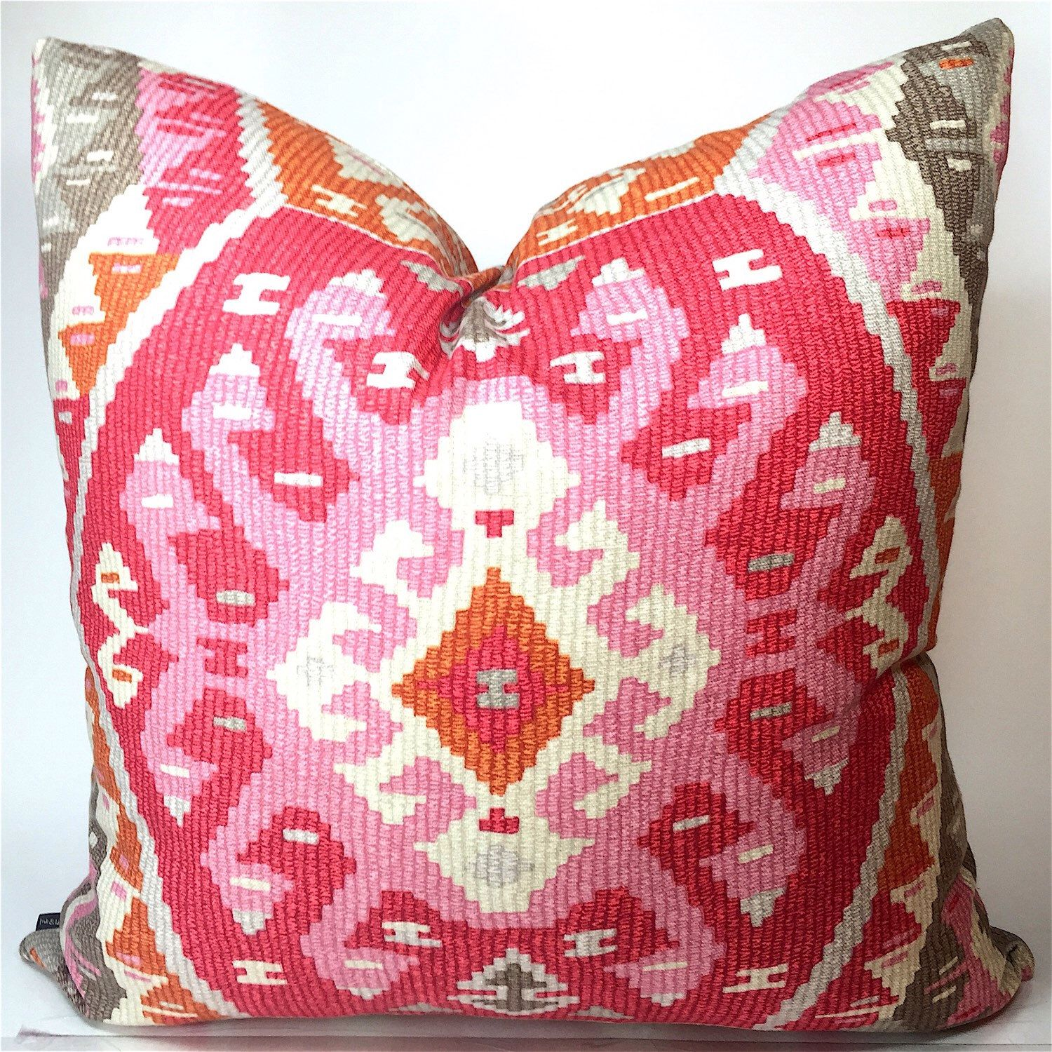 Aztec pillow cover - pink, rose, orange, taupe, cream, gray toss ...