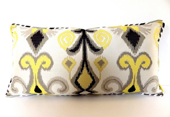 14 x 26 Yellow and Gray Ikat Lumbar Pillow by thehappyseamstress
