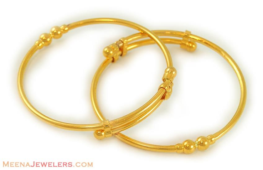 22Kt Indian Baby Gold 22kt Plain Gold Baby Bangle BjBa7040 22k