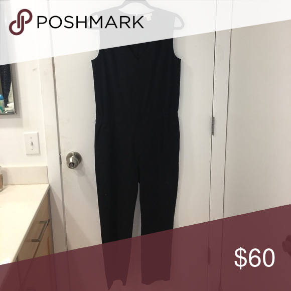 J Crew Black Jumpsuit All black jumpsuit, v neck tank cut, tight fitting, zip up with metal clasp in back, pockets and cinch waist- never worn J Crew Pants Jumpsuits & Rompers