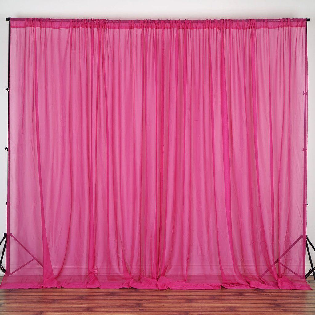 Pack Of 2 5ftx10ft Fushia Fire Retardant Sheer Organza Premium Curtain Panel Backdrops With Rod Pockets Fabric Backdrop Panel Curtains Backdrops